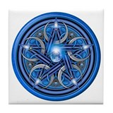 Blue Crescent Moon Pentacle Tile Coaster