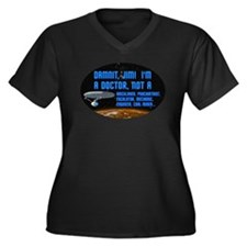 ST: Doctor Women's Plus Size V-Neck Dark T-Shirt