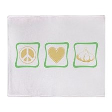 peace, love and garlic square Throw Blanket