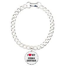I Heart My German Shorthair Charm Bracelet, One Ch