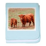 Highland Cow with calf 9Y316D-048 baby blanket