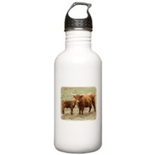 Highland Cow and calf 9Y316D-045 Sports Water Bottle