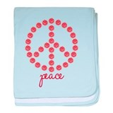 Peace Red baby blanket