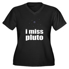 i miss pluto Women's Plus Size V-Neck Dark T-Shirt