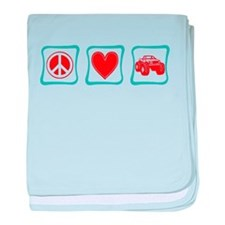 Peace, Love and Monster Truck baby blanket