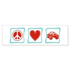 Peace, Love and Monster Truck Bumper Sticker