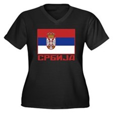 Flag of Serbia Women's Plus Size V-Neck Dark T-Shi