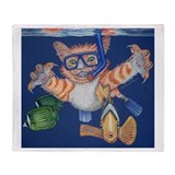 Snorkel Cat Throw Blanket