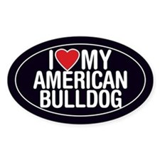 I Love My American Bulldog Oval Sticker/Decal