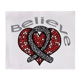 Brain Tumor Believe Heart Throw Blanket
