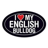 I Love My English Bulldog Oval Sticker/Decal