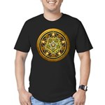 Yellow Crescent Pentacle Men's Fitted T-Shirt (dar