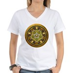 Yellow Crescent Pentacle Women's V-Neck T-Shirt