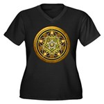 Yellow Crescent Pentacle Women's Plus Size V-Neck