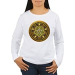 Yellow Crescent Pentacle Women's Long Sleeve T-Shi