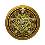 Yellow Crescent Pentacle Ornament (Round)