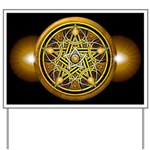 Yellow Crescent Pentacle Yard Sign
