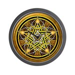Yellow Crescent Pentacle Wall Clock