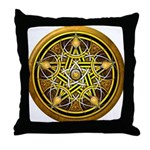 Yellow Crescent Pentacle Throw Pillow