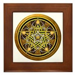 Yellow Crescent Pentacle Framed Tile