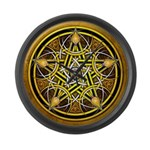 Yellow Crescent Pentacle Large Wall Clock