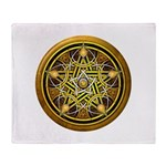 Yellow Crescent Pentacle Throw Blanket