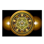 Yellow Crescent Pentacle Postcards (Package of 8)