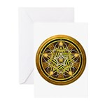 Yellow Crescent Pentacle Greeting Cards (Pk of 10)