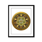 Yellow Crescent Pentacle Framed Panel Print