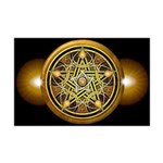 Yellow Crescent Pentacle Mini Poster Print