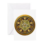 Yellow Crescent Pentacle Greeting Card