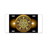 Yellow Crescent Pentacle Aluminum License Plate