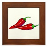 Red Hot Peppers Framed Tile