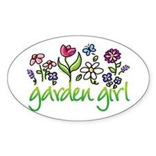 Garden Girl 2 Oval Stickers