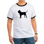 Bloodhound Silhouette Ringer T
