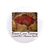 "Bison Cave Painting Petroglyph 3.5"" Button"