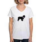 Cocker Spaniel Breast Cancer Women's V-Neck T-Shir