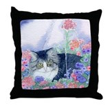 Cat in hanging basket Throw Pillow