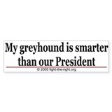 Greyhounds are smarter than Bush. Bumper Car Sticker