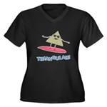 Triangular Women's Plus Size V-Neck Dark T-Shirt