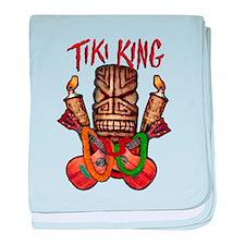 The Tiki King crossed Ukes Logo baby blanket