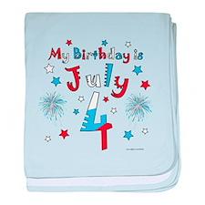 July 4th Birthday Red, White, Blue baby blanket