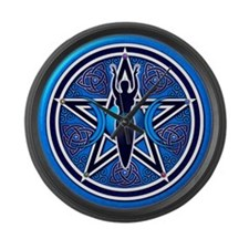 Blue-Silver Goddess Pentacle Large Wall Clock