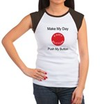 Make My Day Fart Button White Women's Cap Sleeve T