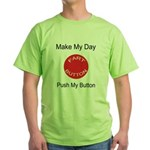 Make My Day Fart Button White Green T-Shirt