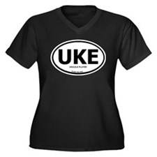 Unique Ukelele Women's Plus Size V-Neck Dark T-Shirt