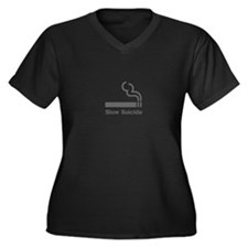 Slow Suicide Women's Plus Size V-Neck Dark T-Shirt
