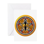 Gold-Red Goddess Pentacle Greeting Card