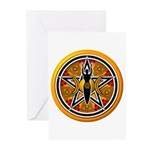 Gold-Red Goddess Pentacle Greeting Cards (Pk of 20