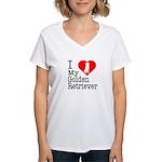 I Love My Golden Retriever Women's V-Neck T-Shirt